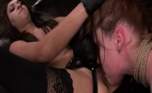 Autumn Kline lesbian domination strapon sex with Esmi Lee