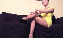 Giving A Foot Job With Her Pantyhose On