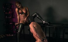 Busty black mistress interracial sex
