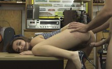 Tall Brunette Drilled On A Desk In Pawn Shop Office