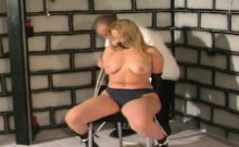 Chunky blonde juggie is tortured and tied to a chair