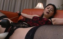 Two hungry dudes fuck asian playgirl in white nylons