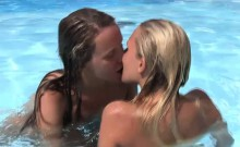 Foxy lesbians have kinky fun by the pool