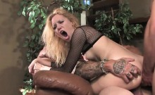 Raunchy blonde has both of her holes plugged