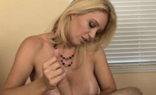 Busty mature Charlee Chase jerking cock pov