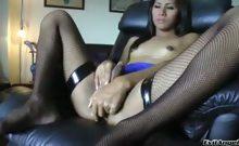 Cute ladyboy enjoys stroking her cock until it explodes !