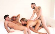 Blonde shemale Naomi Chi gets gangbanged roughly on a sofa