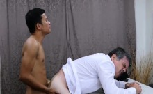 Asian twink Alex and Daddy having a anal sex in a office