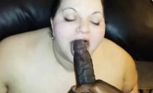 Plump white chick devouring a black shaft