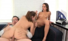 Nice college girl is teased and poked by her aged teacher