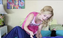 Blonde cheerleader teen pussy smashed in the bedroom