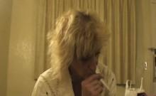 Toothless Mature Blonde Street Whore Sucking Dick POV