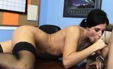 Small Tits Brunette In Black Stockings Fucks India Summer