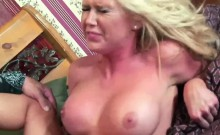 Petite blonde Dylan Riley shows off her big tits while