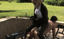 Mistress dominates sub outdoors with machine