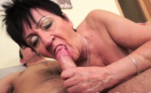 Chubby grandma creampied after fucking