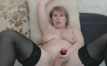Amazing Chubby Busty Blonde Milf Masturbates