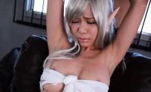Bonded Japanese babe gets her hairy cum bucket pleasured