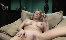 Busty Blonde Slag Spreads Her Wet Muff