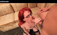 Redhead tranny gets mouth fucked