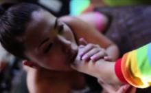 Sexy Asians test an enormous dildo