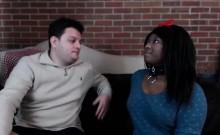 Ebony Getting Interracial Threesome