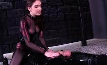 Brunette Pornstar Bondage With Cumshot