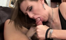 Brunette Pawg Sucks and Rides Cock