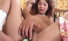 Jap seductress cunt fucked with toys and fingers in close-up