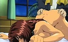 Hentai babes licking old dong