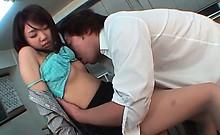 Jap hottie in school uniform having sex with her coed in