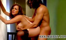 Brunette babe sucking his man's dick