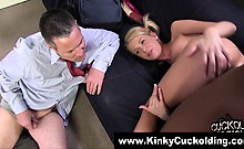 Pathetic cuckold cumshot clean up