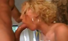 Big Boobed Blonde Performs Oral