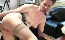 Awesome brunette lady rubs and fingers her pussy while