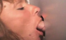 Mature Blonde On Her Knees Takes Facial At Glory Hole