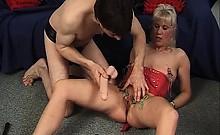 Nasty blonde mature slut gets her wet twat tied and spanked