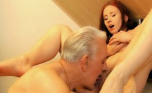 Old man fucking young redhead