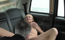Huge tits American blonde bangs in taxi