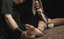 Deep blowjob in bondage for sucking whore