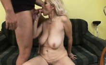 Luscious blonde lady with saggy boobs has a hung guy banging her twat