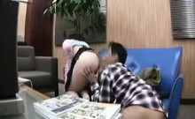 Asian couple play grab ass and she gives him a nice wet blo