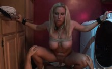 Busty blonde rides on a thick boner