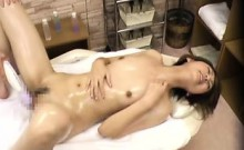 Dazzling Asian girl is made to cum with a sex toy on the ma