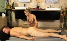 Sexy masseuse screwed by handsome client after massage