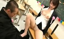 Busty hottie shows off her boobs and grabs his dick in a cl