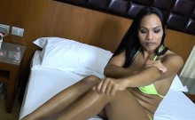 Juicy ladyboy in bikini handjob blowjob and anal sex