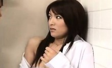 Irresistible Japanese babe chokes on hard meat and gets dri