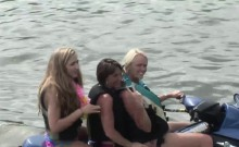 Horny babes have fun on some boats