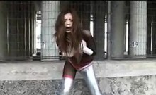 Gorgeous Japanese superhero babe versus a bunch of horny mo